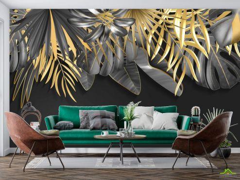 тропические листья Фотообои Золотые листья на черном