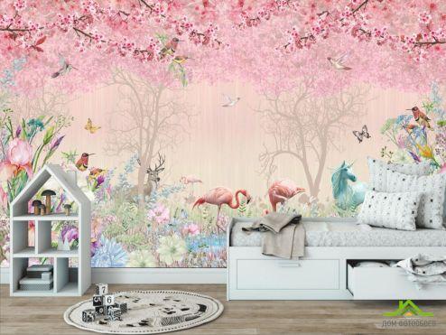 обои в детскую Фотообои Розовые фламинго в райском саду
