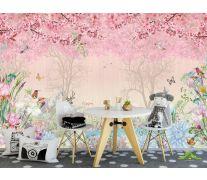 Фотообои Розовые фламинго в райском саду