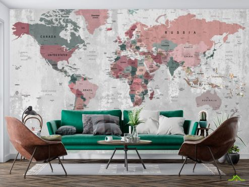 Фотообои карта Мира по выгодной цене Фотообои Карта на бетоне