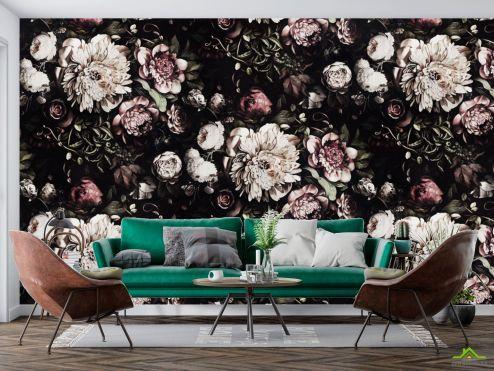 Цветы Фотообои Классические цветы на черном фоне купить