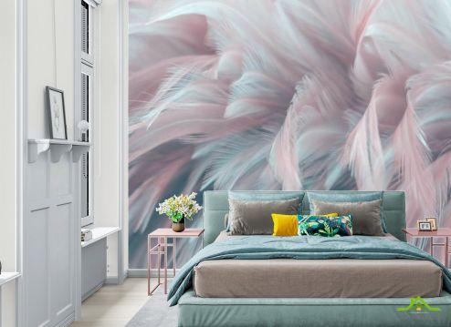 Фотообои в спальню по выгодной цене Фотообои Розовые перья