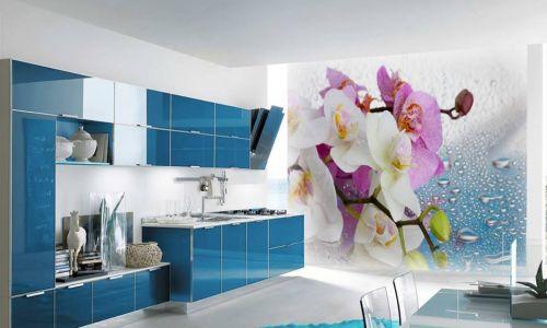 Фотообои в интерьере кухни с фото - Фотообои Орхидеи малиновые и белые