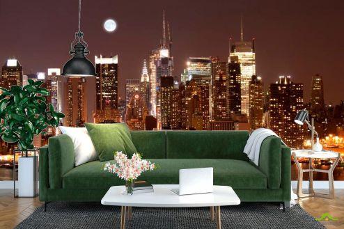 Нью Йорк Фотообои Ночной причал, дома NY