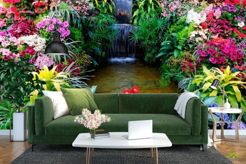 Водопад Фотообои Водопад, цветы купить