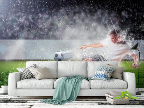 Фотообои Спорт по выгодной цене Фотообои Игра под дождем