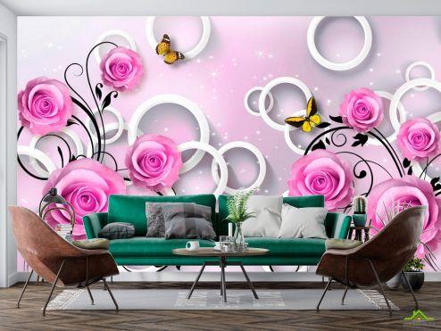 3Д  Фотообои Розы сиреневые 3d