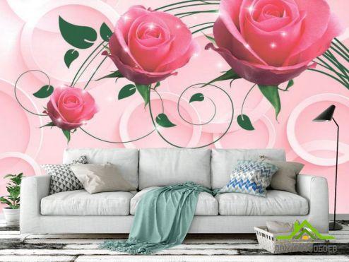 3Д обои Фотообои Розовые розы 3d