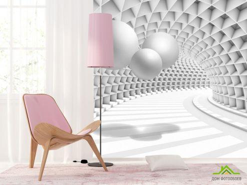 3Д  3д фотообои Тоннель с шарами