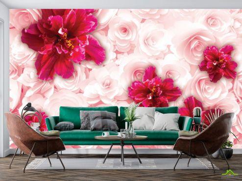 Фотошпалери, колір: «червоний» 3D квіти