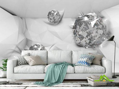 3D обои расширяющие пространство Фотообои Драгоценные камни