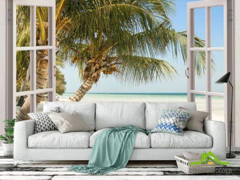 Фотообои Море по выгодной цене Фотообои Пальма и море в окне