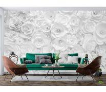 Фотообои Белая стена из бумажных цветов