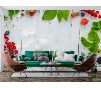 Фотообои ягоды на деревянном фоне