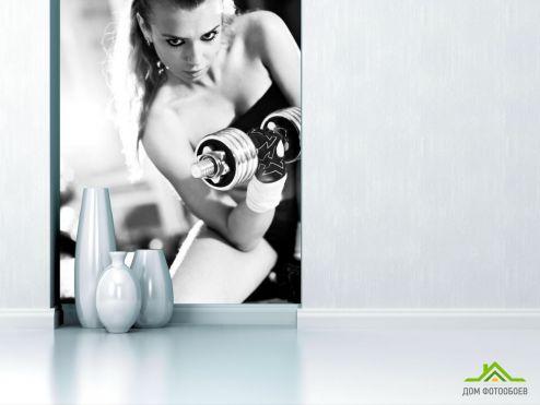обои Спорт Фотообои Девушка с гантелями