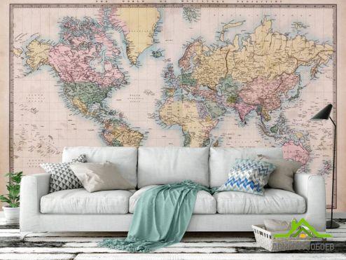 Карта Фотообои Карта мира с маштабом