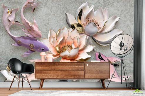 3Д  Фотообои Цветы и рыбки