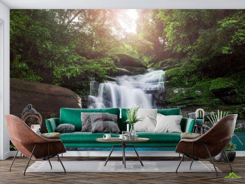 Фотообои Природа по выгодной цене Фотообои водопад каменные ступеньки