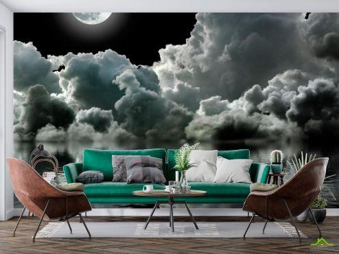 Космос Фотообои Луна над облаками