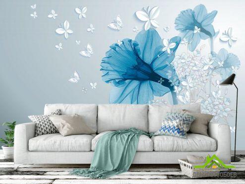 3Д обои Фотообои Синий абстрактный цветок