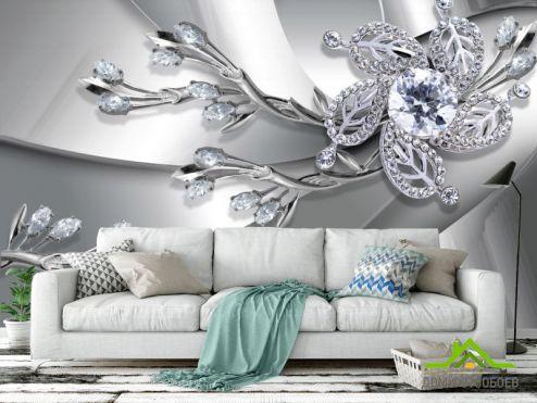 3Д  Фотообои Серебрянная брошь