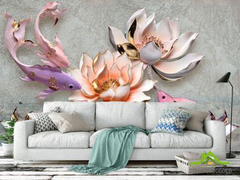 3Д обои Фотообои Керамические лотос и рыбка