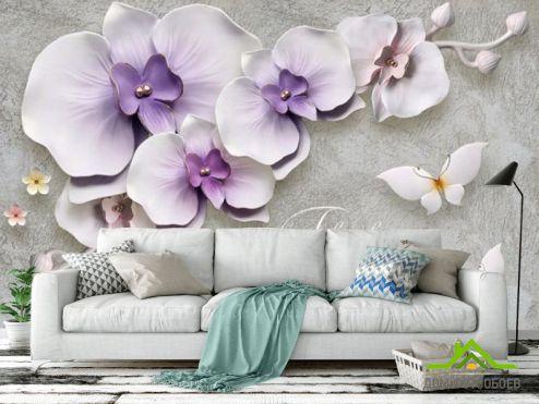 3Д  Фотообои Цветы на веточке