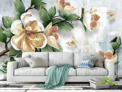 Фотообои Цветы по выгодной цене Фотообои 3d ветка с цветами