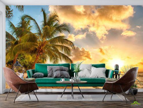 Фотообои Природа по выгодной цене Фотообои пальмы над морем и желтые облака