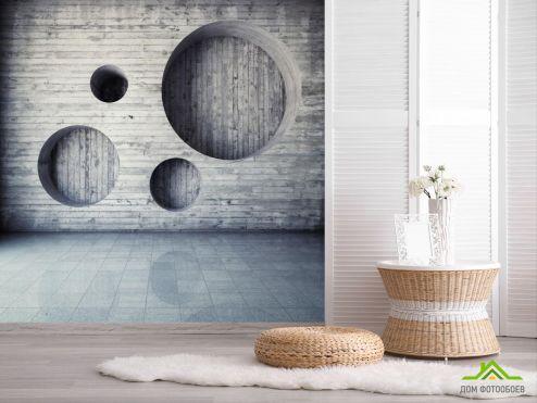 3D обои расширяющие пространство Фотообои Серая деревянная стена с кругами