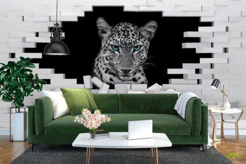 Белые  3д фотообои Леопард