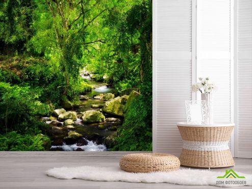 обои Природа Фотообои речка в лесу