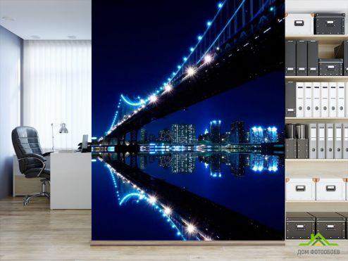 обои Нью Йорк Фотообои Мост вода ночь New York