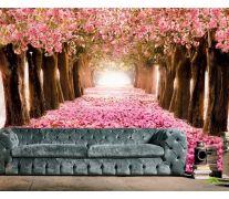 Фотообои аллея с розовыми лепестками