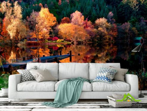 обои Лес Фотообои Под осень, лодка