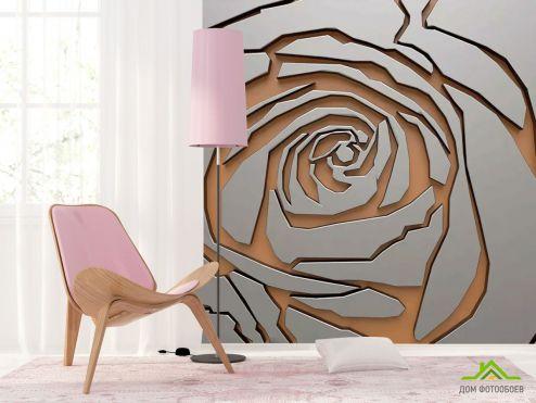 3Д  Фотообои Серая 3д роза