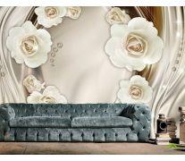 Фотообои Белые 3д цветы с камнями