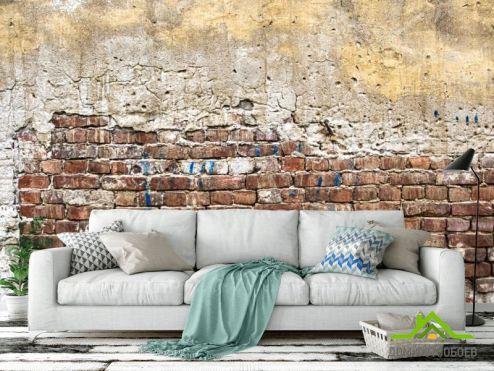 лофт Фотообои Желто-бело-красная кирпичная стена