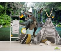 Фотообои Динозавр у водопада