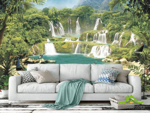 по стилю  Фотообои Водопад с павлинами