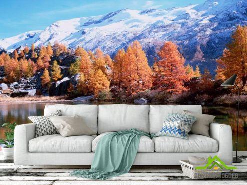 Горы Фотообои Снег,горы, осень
