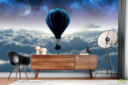 Синие  3д фотообои Воздушный шар