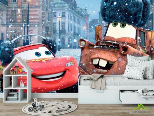 обои в детскую Фотообои Тачки, снег