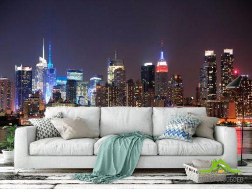 Современный город Фотообои New York, ночь, вода