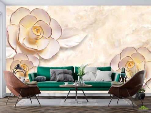 3Д  Фотообои Керамические 3d цветы купить