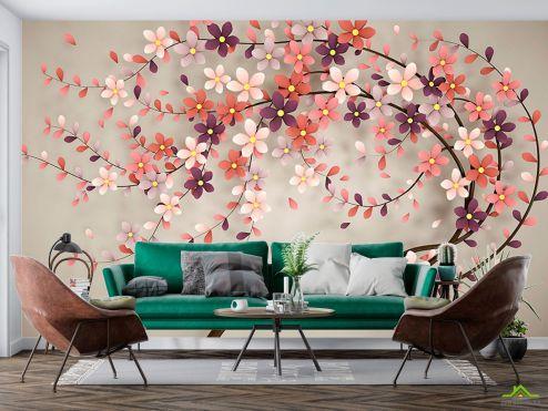 3Д барельеф Фотообои Векторное дерево купить