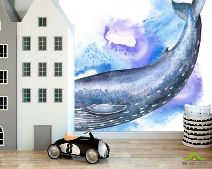 Фотообои Акварельный кит