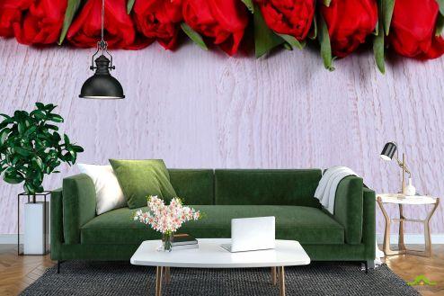 Розы Фотообои красные розы на белом деревянном фоне