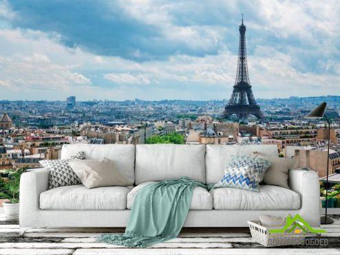 Голубые обои Фотообои Эйфелева башня, Париж