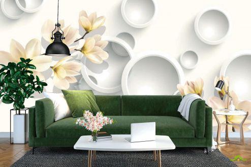 3Д  Фотообои Цветы с кругами